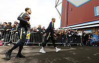 Manchester City's Kyle Walker (left) and Vincent Kompany are greeted by waiting fans as they arrive ahead of kick-off at Turf Moor<br /> <br /> Photographer Rich Linley/CameraSport<br /> <br /> The Premier League - Burnley v Manchester City - Sunday 28th April 2019 - Turf Moor - Burnley<br /> <br /> World Copyright © 2019 CameraSport. All rights reserved. 43 Linden Ave. Countesthorpe. Leicester. England. LE8 5PG - Tel: +44 (0) 116 277 4147 - admin@camerasport.com - www.camerasport.com