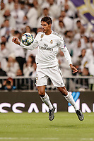 6th November 2019; Estadio Santiago Bernabeu, Madrid, Spain; UEFA Champions League Football, Real Madrid versus Galatasaray; Raphael Varane (Real Madrid)  controls the high ball  - Editorial Use
