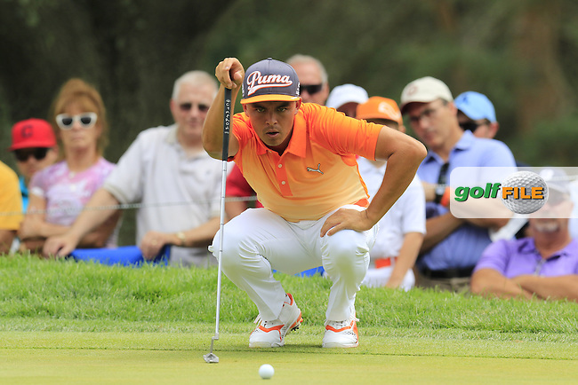 Rickie FOWLER (USA) lines up his putt on the 2nd green during Sunday's Final Round of the 2015 Bridgestone Invitational World Golf Championship held at the Firestone Country Club, Akron, Ohio, United States of America. 9/08/2015.<br /> Picture Eoin Clarke, www.golffile.ie