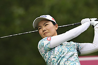 Ayako Uehara (JPN) tees off the 13th tee during Thursday's Round 1 of The Evian Championship 2018, held at the Evian Resort Golf Club, Evian-les-Bains, France. 13th September 2018.<br /> Picture: Eoin Clarke | Golffile<br /> <br /> <br /> All photos usage must carry mandatory copyright credit (&copy; Golffile | Eoin Clarke)