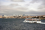 ferry boat across the Bosphorus in Istanbul