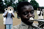 KLIPRIVER, SOUTH AFRICA APRIL 13: John Milolo, age 14, a blind boy, play the trumpet in a brass band on April 13, 2003 at Sibonile (means: we have seen) School for the Blind in Klipriver, south of Johannesburg, South Africa. A Johannesburg music group visits them about once a month giving the children a chance to play instruments and dance. A blind woman founded the school in 1994. The school has about 125 students from disadvantaged communities around South Africa. Many of the children have faced rejection from their families and communities, and at Sibonile they have a chance for a good education. .(Photo: Per-Anders Pettersson)...