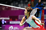 Nozomi Okuhara (JPN), <br /> AUGUST 19, 2018 - Badminton : <br /> Women's Team Quarter-final <br /> between Japan 3-1 India <br /> at Gelora Bung Karno Istora <br /> during the 2018 Jakarta Palembang Asian Games <br /> in Jakarta, Indonesia. <br /> (Photo by Naoki Morita/AFLO SPORT)