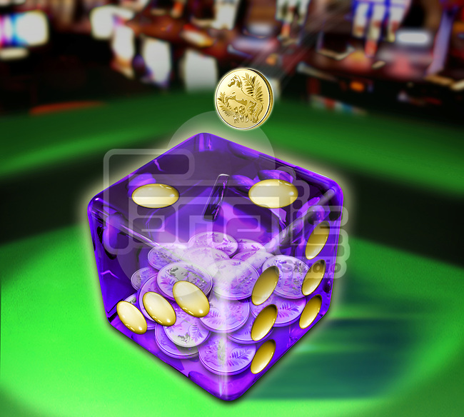 Illustrative image of coin falling in dice representing gambling