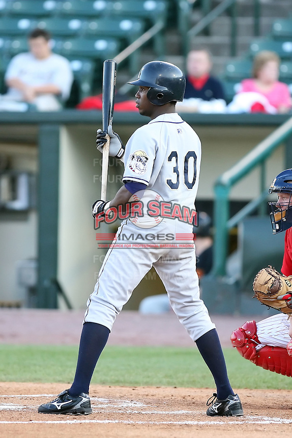 June 20th 2008:  Ramon Hernandez of the Mahoning Valley Scrappers, Class-A affiliate of the Cleveland Indians, during a game at Frontier Field in Rochester, NY - home of the Rochester Red Wings.  Photo by:  Mike Janes/Four Seam Images