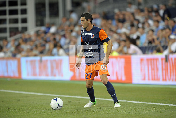 Cyril Jeunechamp (27) defender Montpellier in action..Sporting Kansas City were defeated 3-0 by Montpellier HSC in an international friendly at LIVESTRONG Sporting Park, Kansas City, KS..