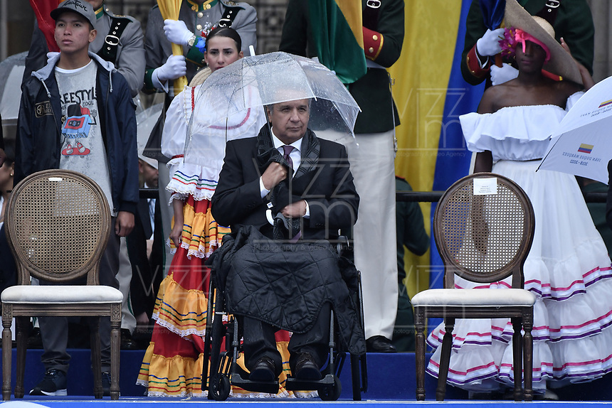 BOGOTÁ - COLOMBIA, 07-08-2018: Lenin Moreno, presidente de Ecuador,  durante la ceremonia de juramento en donde Ivan Duque, toma posesión como presidente de la República de Colombia para el período constitucional 2018 - 22 en la Plaza Bolívar el 7 de agosto de 2018 en Bogotá, Colombia. / Lenin Moreno, president of Ecuador,  during the swearing ceremony where Ivan Duque, takes office to constitutional term as president of the Republic of Colombia 2018 - 22 at Plaza Bolivar on August 7, 2018 in Bogota, Colombia. Photo: VizzorImage/ Gabriel Aponte / Staff