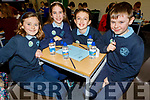 Kate Hoare, Katie Turner, Éabha Jones, Séadhna O'Brien from Scoil Uaimh Bhréanainn NS taking part in the Cara Credit Union School Quiz in the I T Tralee on Sunday.