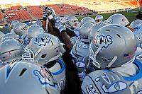Oct. 8, 2009; Las Vegas, NV, USA; Las Vegas Locomotives players huddle prior to the game against the California Redwoods in the inaugural United Football League game at Sam Boyd Stadium. Mandatory Credit: Mark J. Rebilas-