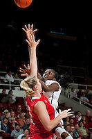 STANFORD, CA--Chiney Ogwumike scores from outside during PAC-12 conference play against Utah  at Maples Pavilion. The Cardinal won the matchup against the Utes 69-42.