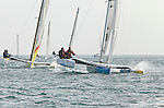 Diam 24 One Design, light, sporty, powerful, winged and designed to race with three or four people on board. The Diam 24OD is fast in light winds and confident in stronger breeze without the necessity for high level sporting prowess. The Diam 24 the new boat for the Tour de France à la Voile 2015.<br /> Maitre Coq, Skipper Jérémie Beyou, Cheminés Poujoulat, Skipper Philippe Legros.