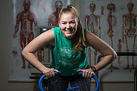 UAA Employee Wellness Program and Practicum Coordinator Kyra McKay photographed in UAA's Human Performance Lab at Eugene Short Hall.