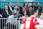 The Minister of Education, Culture and Sports Jose Ignacio Wert, Prince Felipe of Spain; Juan de Dios Roman, President of the Spanish Handball Federation and the Secretary of Sports (Secretario de Estado para el Deporte) Miguel Cardenal during 23rd Men's Handball World Championship preliminary round match Hungary v Spain.January 17,2013. (ALTERPHOTOS/Acero)