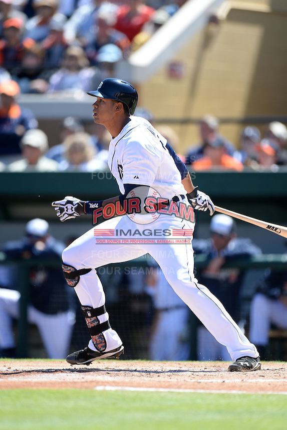Detroit Tigers outfielder Steven Moya (30) during a spring training game against the Miami Marlins on March 13, 2014 at Joker Marchant Stadium in Lakeland, Florida.  Miami defeated Detroit 4-2.  (Mike Janes/Four Seam Images)