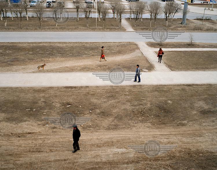 Pedestrians and dog.
