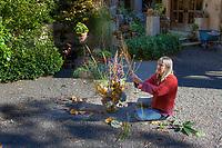 Deborah Wigham preparing gardener's bouquet