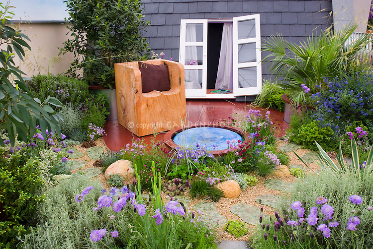 Amazing Garden And Small Water Feature With Rustic Chair On Roof Of House, Whith  Window And Part 24