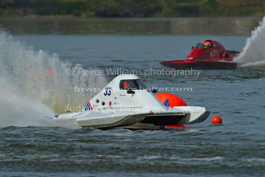 "Steve Kuhr, A-73 ""CP Racing"" and Jim Aid, A-33 ""In Cahoots Again""  (2.5 MOD class hydroplane(s)"