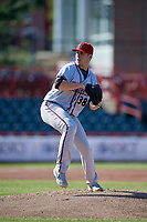 Richmond Flying Squirrels pitcher Caleb Baragar (38) during an Eastern League game against the Erie SeaWolves on August 28, 2019 at UPMC Park in Erie, Pennsylvania.  Richmond defeated Erie 6-4 in the first game of a doubleheader.  (Mike Janes/Four Seam Images)