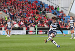Danny Cipriani of Sale Sharks scores from a penalty in the second half - European Rugby Champions Cup - Sale Sharks vs Munster -  AJ Bell Stadium - Salford- England - 18th October 2014  - Picture Simon Bellis/Sportimage