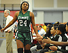 Kem Nwabudu #24 of Elmont gets congratulated by teammates after taking a seat in the fourth quarter of the Class A Long Island Championship against Hauppauge at Suffolk County Community College Grant Campus in Brentwood on Thursday, March 8, 2018. Elmont won by a score of 56-30.