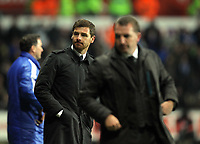 Pictured L-R: Team managers Andre Villas-Boas of Chelsea and Brendan Rodgers of Swansea.Tuesday, 31 January 2012<br /> Re: Premier League football Swansea City FC v Chelsea FCl at the Liberty Stadium, south Wales.