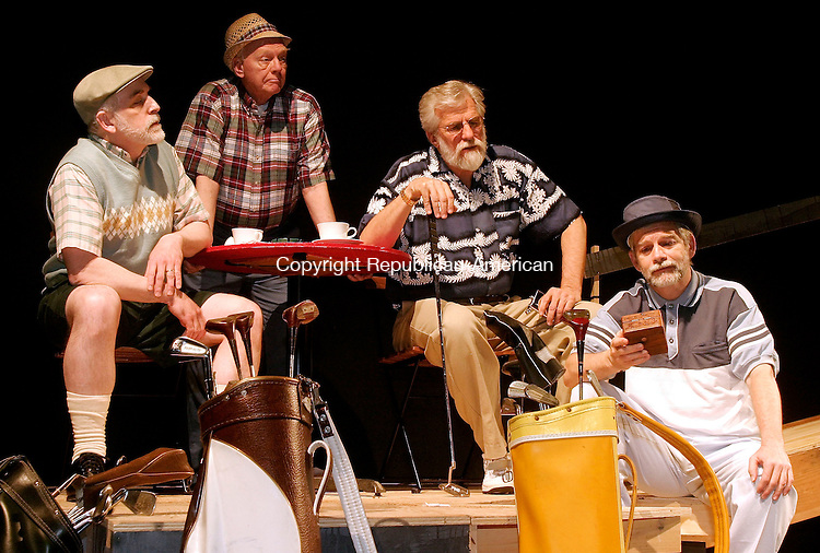 WATERBURY, CT- 23 MARCH 2005-032305J08--Cast members for the Seven Angels production of Golf with Alan Shepard, from left, Gordon Stanley, Frank Lowe, Ed Schiff and John Thomas Waite rehearse for their upcoming shot.  --- Jim Shannon Photo-- Gordon Stanley, Frank Lowe, Ed Schiff and John Thomas Waite  New York City; Seven Angels; Golf with Alan Shepard are CQ