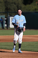 Zack Gahagan (10) of the North Carolina Tar Heels between innings of a game against the UCLA Bruins at Jackie Robinson Stadium on February 20, 2016 in Los Angeles, California. UCLA defeated North Carolina, 6-5. (Larry Goren/Four Seam Images)