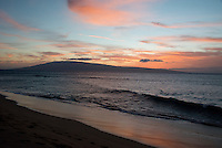 Sunset looking towards the Hawaiian island of Lanai from Kaanapali Beach, Maui, Hawaii on Thursday, February 23, 2017. Most of Lanai is owned by the tech billionaire Larry Ellison, who purchased it in 2012. Photo Credit: Ron Sachs/CNP/AdMedia