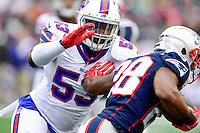 Sunday, October 2, 2016: Buffalo Bills inside linebacker Zach Brown (53) tackles New England Patriots running back James White (28) during the NFL game between the Buffalo Bills and the New England Patriots held at Gillette Stadium in Foxborough Massachusetts. Buffalo defeats New England 16-0. Eric Canha/Cal Sport Media