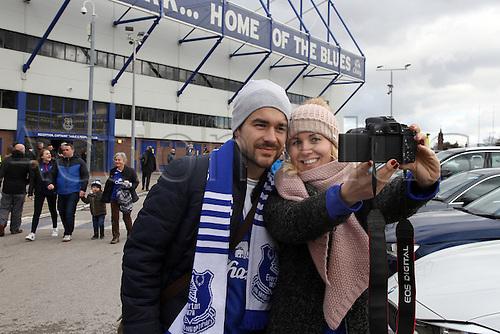 05.03.2016. Goodison Park, Liverpool, England. Barclays Premier League. Everton versus West Ham. Fans pose for a self portrait outside the stadium.