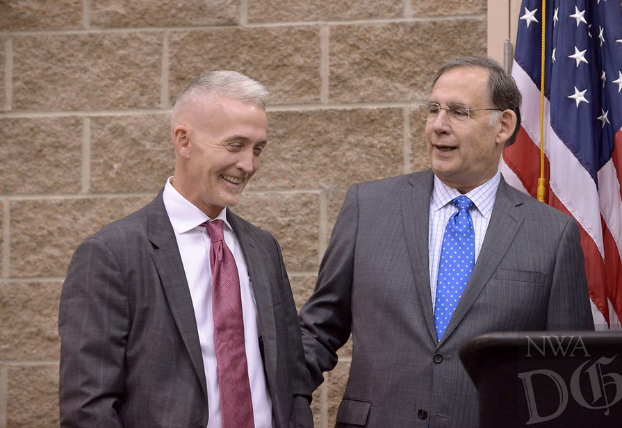 NWA Democrat-Gazette/BEN GOFF @NWABENGOFF<br /> Trey Gowdy (left), U.S. Rep. (R-S.C.), and U.S. Sen. John Boozman (R-Ark.),  take part in media availability Thursday, April 20, 2017, prior to Gowdy's speech, part of the Winthrop Paul Rockefeller Distinguished Lecture Series presented by the United States Marshals Museum, at the Fort Smith Convention Center in Fort Smith.