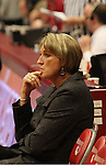 June Daugherty, Head Women's Basketball Coach at Washington State, watches the Cougars warm up prior to their game against Montana State in Pullman, Washington, on November 23, 2008.  The Cougars prevailed in the contest, 78-66.