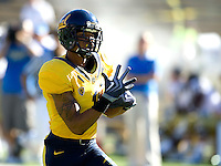 Marvin Jones of California runs the ball to an endzone to score a touchdown during the game against UCLA at Memorial Stadium in Berkeley, California on October 9th, 2010.   California defeated UCLA, 35-7.