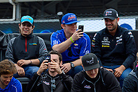 Verizon IndyCar Series<br /> Indianapolis 500 Drivers Meeting<br /> Indianapolis Motor Speedway, Indianapolis, IN USA<br /> Saturday 27 May 2017<br /> Conor Daly, A.J. Foyt Enterprises Chevrolet and Simon Pagenaud, Team Penske Chevrolet takes pictures of the crowd.<br /> World Copyright: F. Peirce Williams