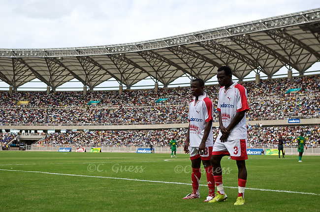 Two Simba players line up to block a penalty kick during the Yanga versus Simba football game in Dar Es Salaam, Tanzania.