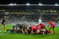 A scrum collapses during the Super Rugby match between the Chiefs and Reds at Yarrow Stadium in New Plymouth, New Zealand on Saturday, 6 May 2017. Photo: Dave Lintott / lintottphoto.co.nz