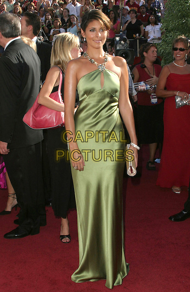 JAMIE-LYNN SIGLER.56th Annual Prime Time Emmy Awards held at the Shrine Auditorium. .September 19th, 2004.full length, green silk satin dress, halterneck.www.capitalpictures.com.sales@capitalpictures.com.©Don Shaffer/AdMedia/Capital Pictures.