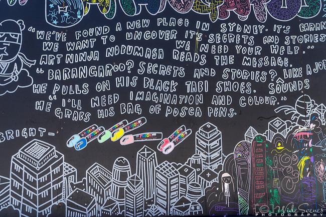 Barangaroo street art display, Sydney, NSW, Australia