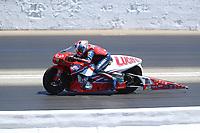 May 7, 2017; Commerce, GA, USA; NHRA pro stock motorcycle rider Hector Arana Sr during the Southern Nationals at Atlanta Dragway. Mandatory Credit: Mark J. Rebilas-USA TODAY Sports