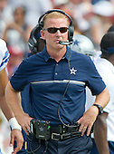 Dallas Cowboys head coach Jason Garrett watches the action during the second quarter of the game against the Washington Redskins at FedEx Field in Landover, Maryland on Sunday, September 18, 2016.  The Cowboys won the game 27 - 23.<br /> Credit: Ron Sachs / CNP