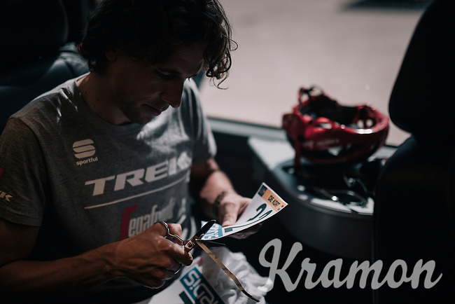 Koen de Kort (NED/Trek-Segafredo) customising his race numbers<br /> <br /> 104th Tour de France 2017<br /> Stage 8 - Dole › Station des Rousses (187km)