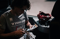 Koen de Kort (NED/Trek-Segafredo) customising his race numbers<br /> <br /> 104th Tour de France 2017<br /> Stage 8 - Dole &rsaquo; Station des Rousses (187km)