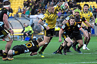 TJ Perenara stretches for the tryline during the Super Rugby quarterfinal match between the Hurricanes and Chiefs at Westpac Stadium in Wellington, New Zealand on Friday, 20 July 2018. Photo: Dave Lintott / lintottphoto.co.nz