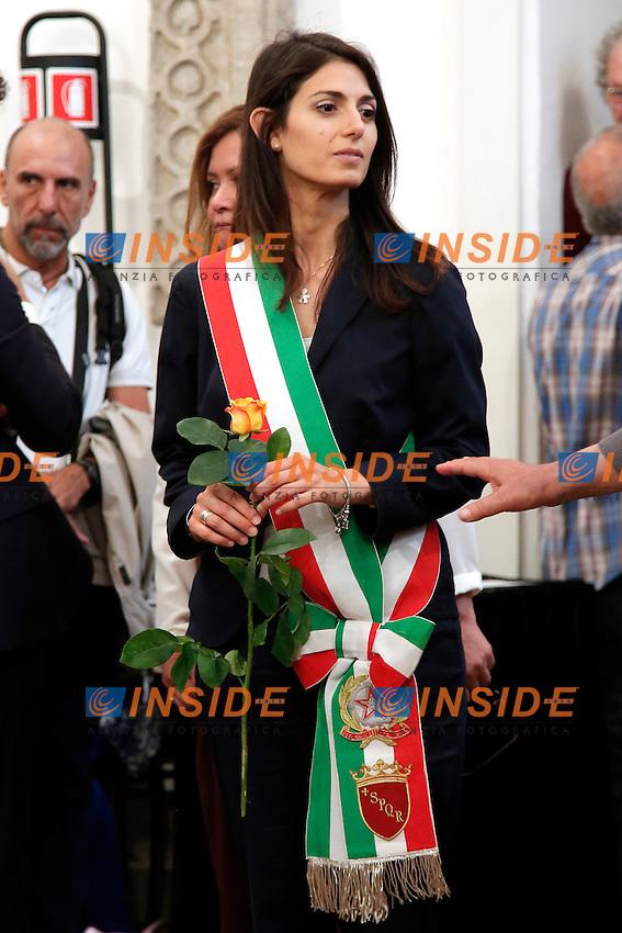 Virginia Raggi<br /> Roma 28-06-2016 Campidoglio, camera ardente del regista Giuseppe Ferrara.<br /> Photo Samantha Zucchi Insidefoto