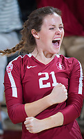 STANFORD, CA - November 2, 2018: Sidney Wilson at Maples Pavilion. No. 1 Stanford Cardinal defeated No. 15 Colorado Buffaloes 3-2.