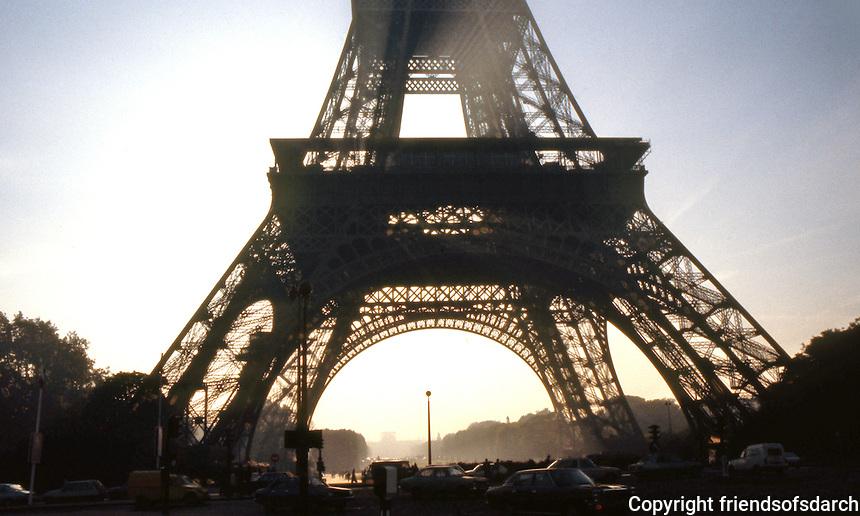 Paris: Eiffel Tower, base in silhouette.