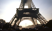 Paris: Eiffel Tower, base in silhouette.