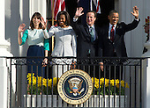 From left to right: Samantha Cameron, first lady Michelle Obama, Prime Minister David Cameron of the United Kingdom, and United States President Barack Obama wave from the South Portico of the White House in Washington, D.C. following the Official Arrival Cememony on Wednesday, March 14, 2012..Credit: Ron Sachs / CNP