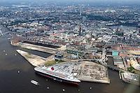 Deutschland, Hamburg, Speicherstadt, Hafencity, Innenstadt, Queen Mary 2, Kreuzfahrtschiff, Grassbrook, Elbe